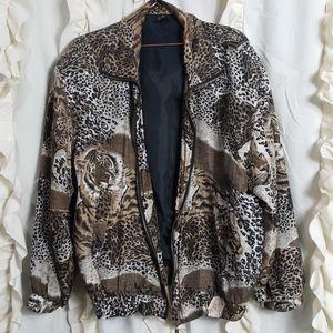 Vtg Silk bomber jacket tiger leopard print zip